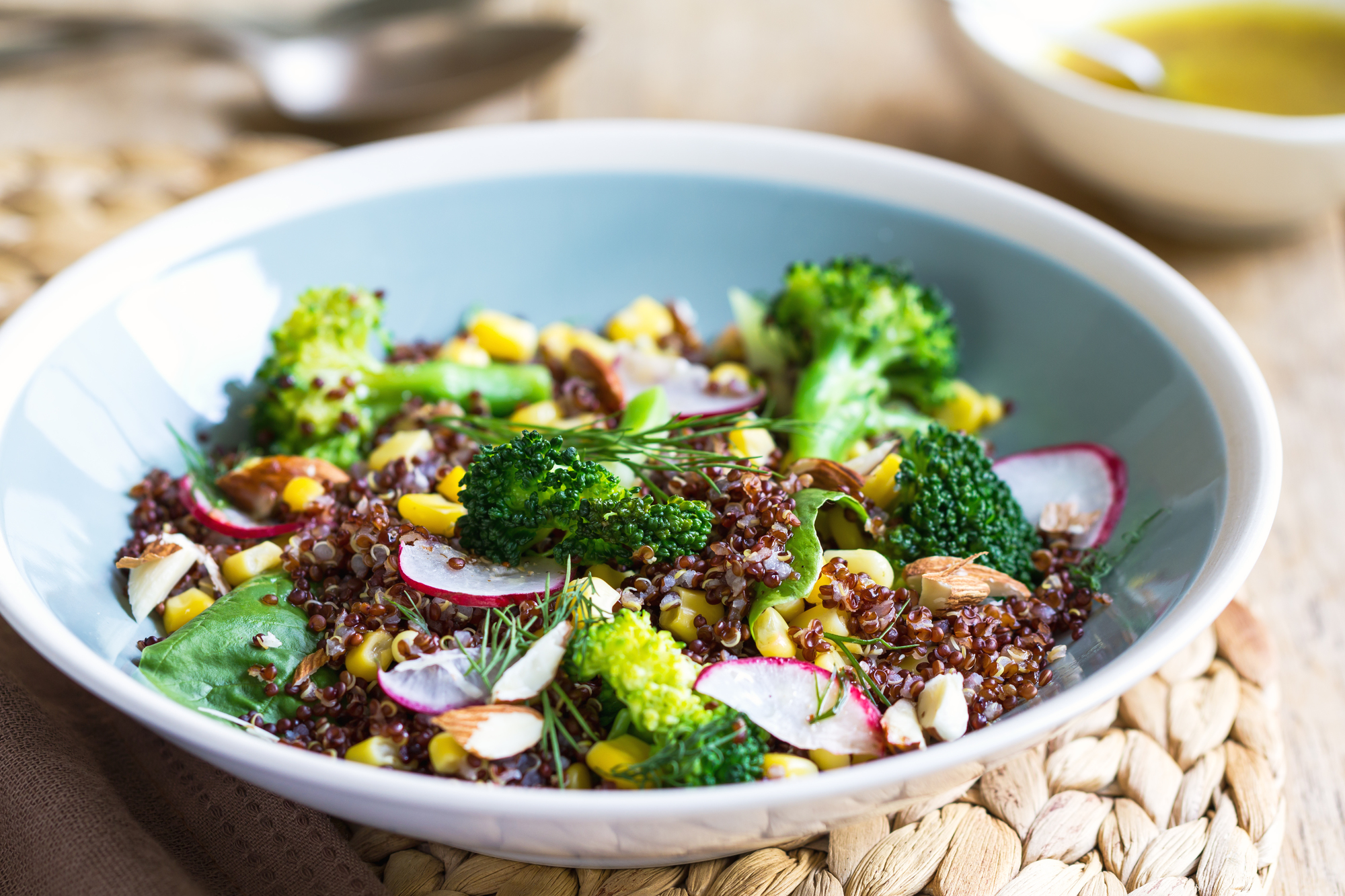 Red Quinoa with corn and broccoli salad by vinaigrette
