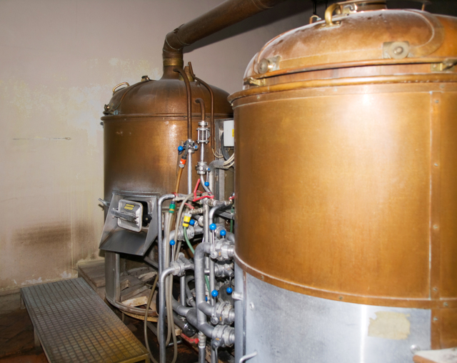 Part of old small brewery with tanks
