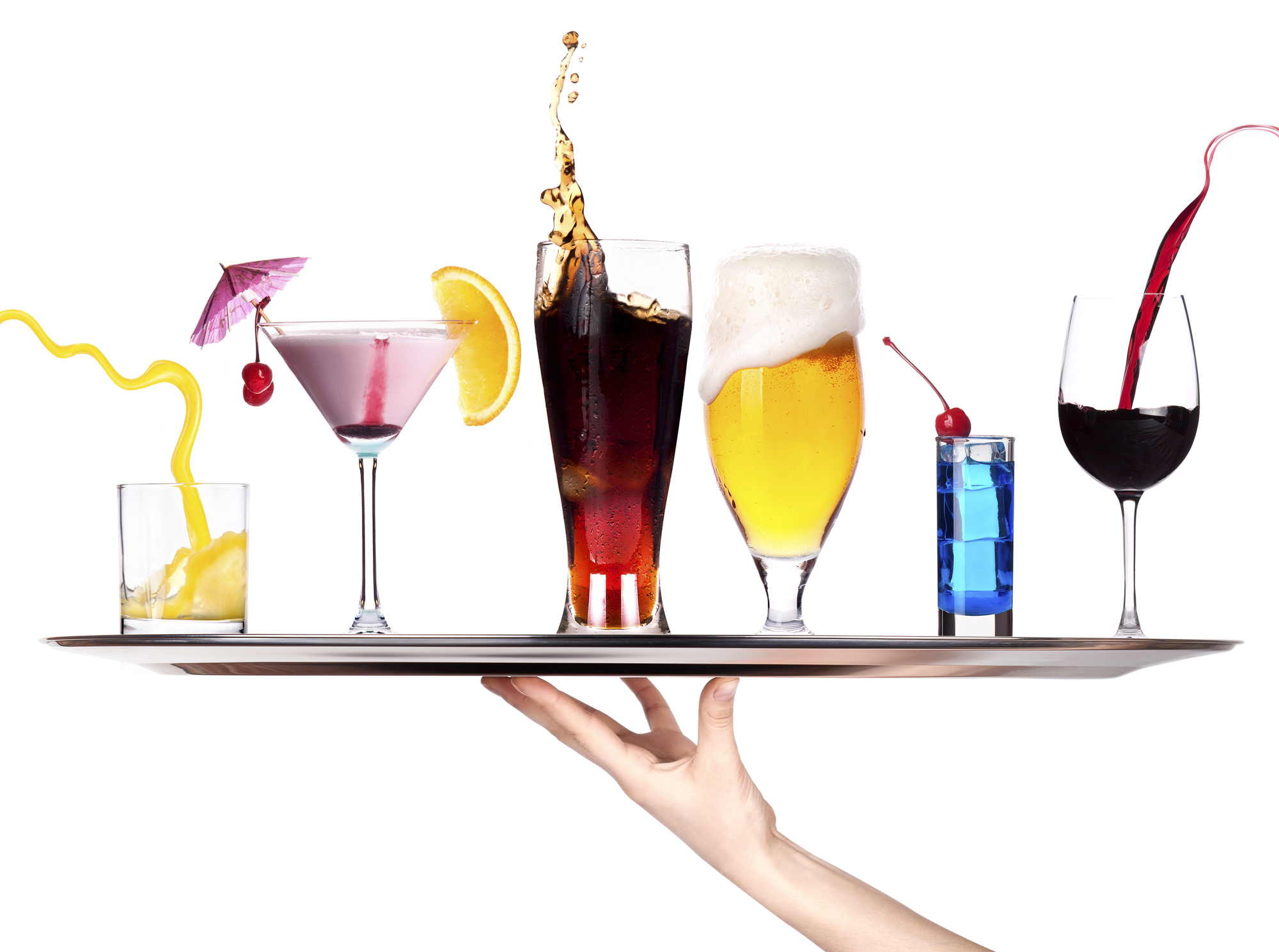 hand with tray full of alcohol drinks. celebration concept isolated